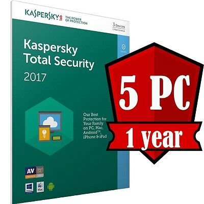 Kaspersky Total Security 5 Devices PC 1 year 100% Original Antivirus
