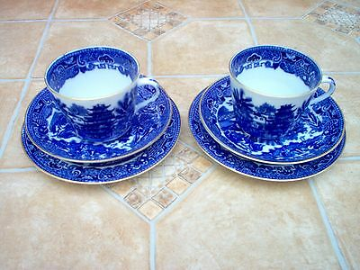 2x ADDERLEYS / BROSELEY (1930s) Willow Cup Saucer & Side Plate (TRIO) Blue/White