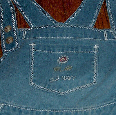 Old Navy Girls Overalls Bib Pants Solid Blue Size 18-24 months  XL 100% Cotton