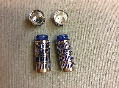 Sterling Silver Salt and Pepper with Cobalt Blue Liners  Made in the U.K.