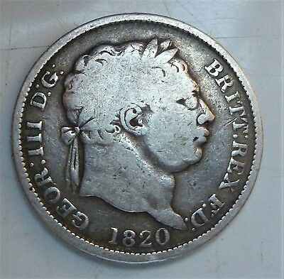 1820 George Iii Shilling, Nice Silver British Coin.
