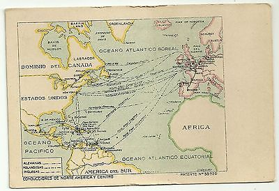 Map postcard America Europe showing shipping routes Spain spanish  card