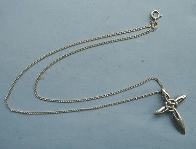 Old  Vintage Sterling Silver Celtic Cross and Chain Pendant Christian Crucifix