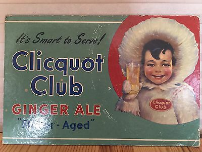 Vintage Cliquot Club Ginger Ale Soda Counter Top Advertising Sign, Eskimo
