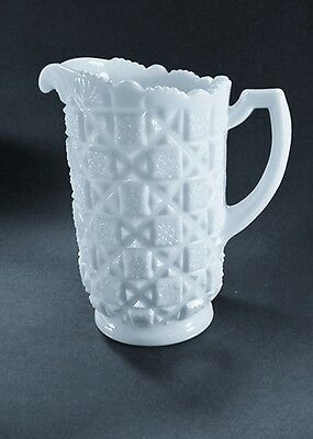 "Elegant Westmoreland White Milk White Glass ""Old Quilt"" Water / Milk Pitcher"