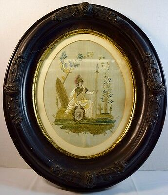 "Fine Antique Needlework on Silk Victorian Picture of ""War"""