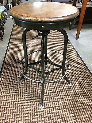 Vintage Toledo Drafting Stool Machine Age Industrial Round Stool Steampunk Uhl