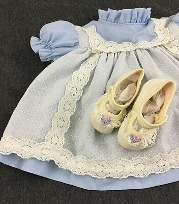 Vintage Baby Dress With Lace Trim Ballet Slippers Size 6-12 Months