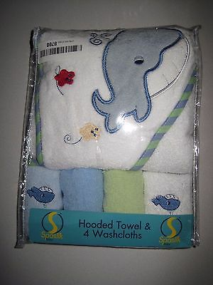 Spasilk 100% Cotton Hooded Terry Bath Towel with 4 Washcloths, Blue