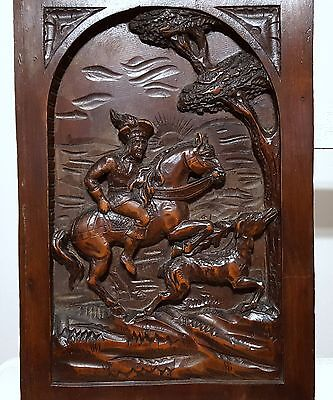 Carved Wood Panel Solid Antique French Rider Hunting Scene Carving Sculpture