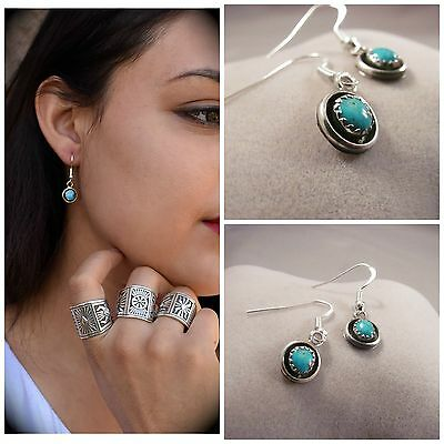 Navajo Stabilized Turquoise and Sterling Silver Earrings by Phil Garcia