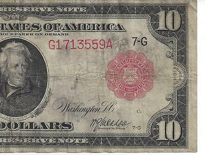 SCARCE Red Seal (Chicago) Series 1914 $10 Federal Reserve Note  FINE