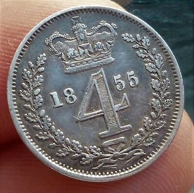 1855 Victoria Silver Maundy Four Pence, Very Nice Coin