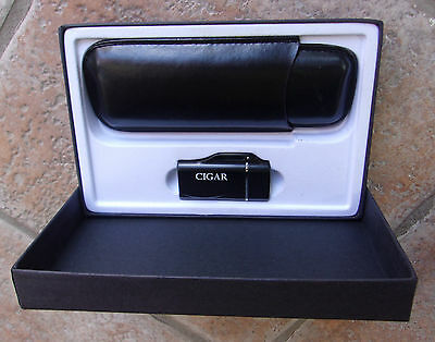 Colibri Cigar Magazine Torch Lighter Case Sleeve Gift Set Black Butane NIB