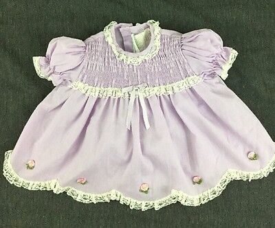 Hand Smocked Vintage Purple Baby Dress With Scalloped Lace Trim Size 6-12 Months