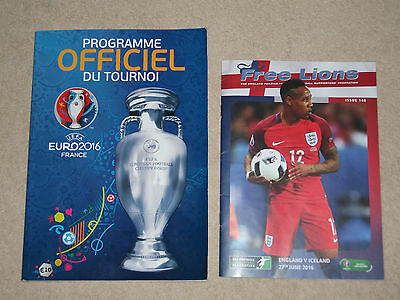 UEFA EUROPEAN CHAMPIONSHIPS EURO 2016 PROGRAMME IN FRENCH + England V Iceland