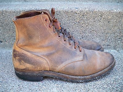 Vtg WWII US Navy Rough Out Leather Service Shoes Boots Boondockers Mens 11 1940s