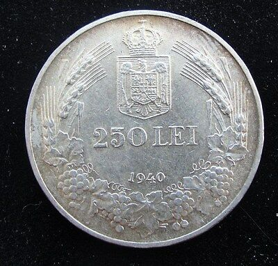 1940 Romania 250 Lei Silver Coin * Nice Higher Grade *