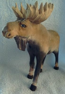Hand Carved North Woods Rustic Wooden Bull Moose Figure Lodge Cabin Decoration
