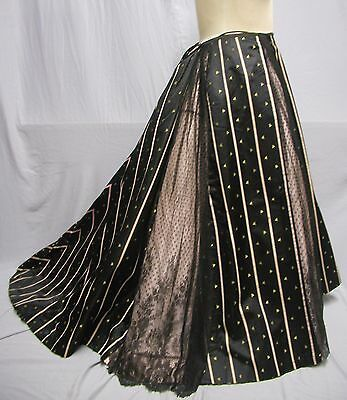 #17147, 1890's Stripe Silk & Chantilly Lace Ball Gown Skirt