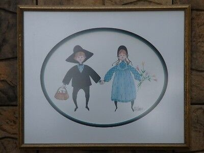 P. Buckley Moss Rare Framed Print Signed and Numbered - Girl Boy Apples Flowers