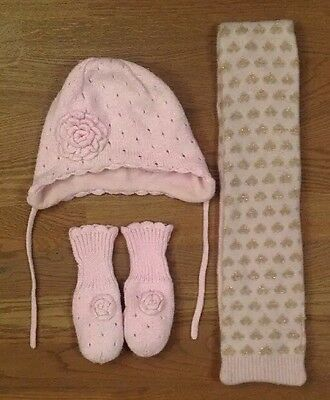 Girls Pink H&Hat, Scarf & Gloves Set, Age 1-2 Years in Good Condition