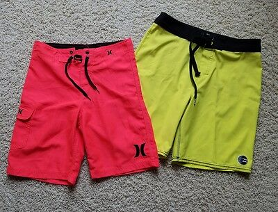 Lot of 2 Boy's BILLABONG Platinum X/Hurley Board Shorts Swim Trunks SZ 10-12