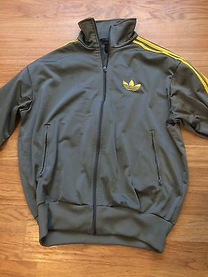 MENS ADIDAS FULL ZIP TRACK JACKET GRAY YELLOW STRIPES size Small