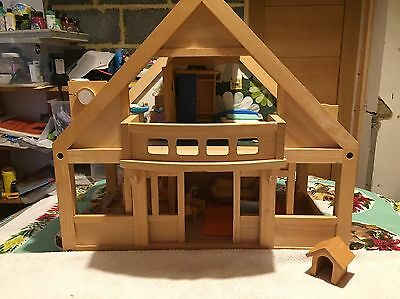 Wooden Dolls House With Figures And Pets