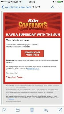 Alton Towers Tickets 14 July