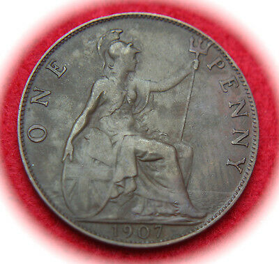 1907 Great Britain Penny KM# 794.2 Bronze Coin - No Reserve