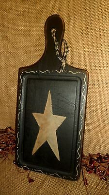 Primitive Wood Cutting Board Sign Black Tan Star Country Kitchen Home Decor
