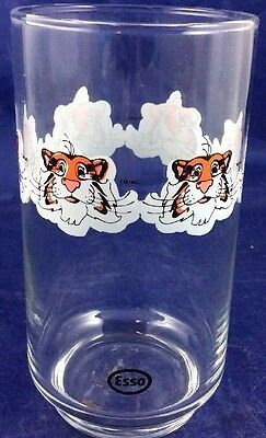 Vintage Esso Exxon Tiger Glass Repeating Small Tiger Face Petroliana Advertising