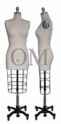 Professional Female Mannequin Dress Form, W/ Heavy Rolling Base, Size 10 (ncs 10