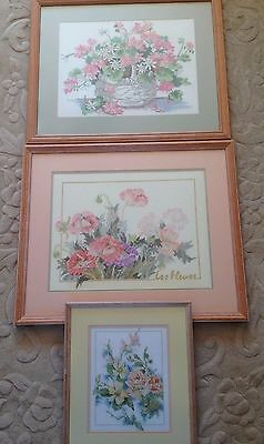 3 X Framed Handcrafted Cross Stitch Pictures
