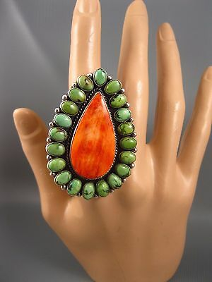 Navajo LaRose Ganadonegro Sterling Carico Turquoise Spiny Oyster Ring Size 9 Big
