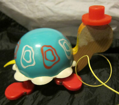 vintage 1962 Fisher Price Tip Toe Turtle pull toy 773 original yellow string