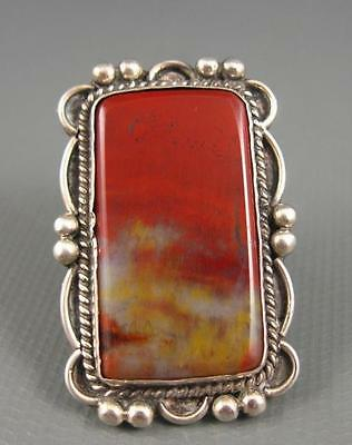 Old Ornate Navajo Fred Harvey Sterling Square Cut Petrified Wood Ring Size 6.75