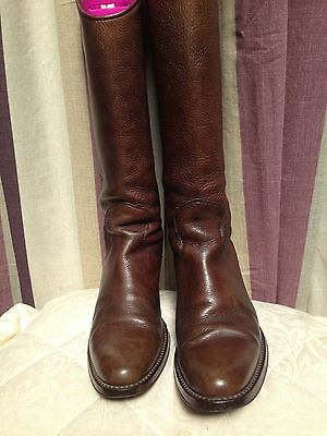 Brown Leather Western Style Boots Size 4/37 By M. S Collection