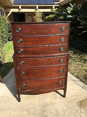 Antique Cherry Hepplewhite Federal Dresser Chest French Foot Graduated Drawer