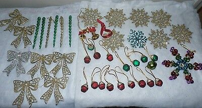 Christmas Tree Ornament lot of 42  Red Green Gold  Bells Bows Snowflakes Icicle
