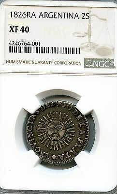 Argentina: Rio de la Plata 2 Soles 1826 RA P omitted,  graded XF40 by NGC KM #18