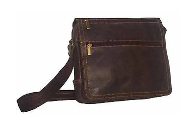 David King & Co. Double Zip On The Flap Messenger Distressed Cafe One Size