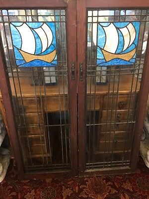 Arts & Crafts Leaded Stainglass Ship Windows Stickley Style Craftsman Nautical