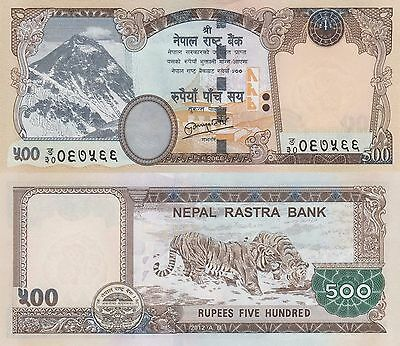 Nepal 500 Rupee (2012) - Mt. Everest/Tigers/p74 UNC