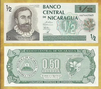 Nicaragua 1/2 Cordoba 1992 P-172 Unc Currency Banknote ***USA SELLER***