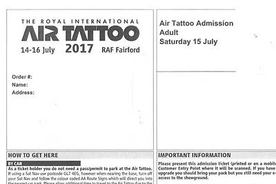 ROYAL INTERNATIONAL AIR TATTOO 2017 X2 ADULT TICKETS SAT 15th JULY *SOLD OUT*