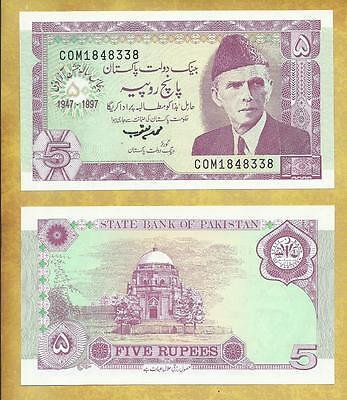 Pakistan Commemorative 5 Rupees 1997 P-44 Unc Currency Banknote ***USA SELLER**