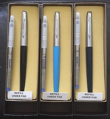 NOS Lot Of 3 Parker 45 Roller Ball Pens With Fine Point Refills/Gift Boxes