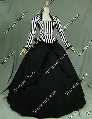 Victorian Stripes Gown Dress Steampunk Penny Dreadful Theater Clothing V 321 M